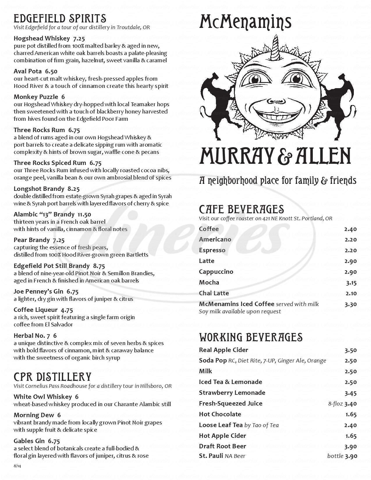 menu for McMenamins Murray & Allen Pub