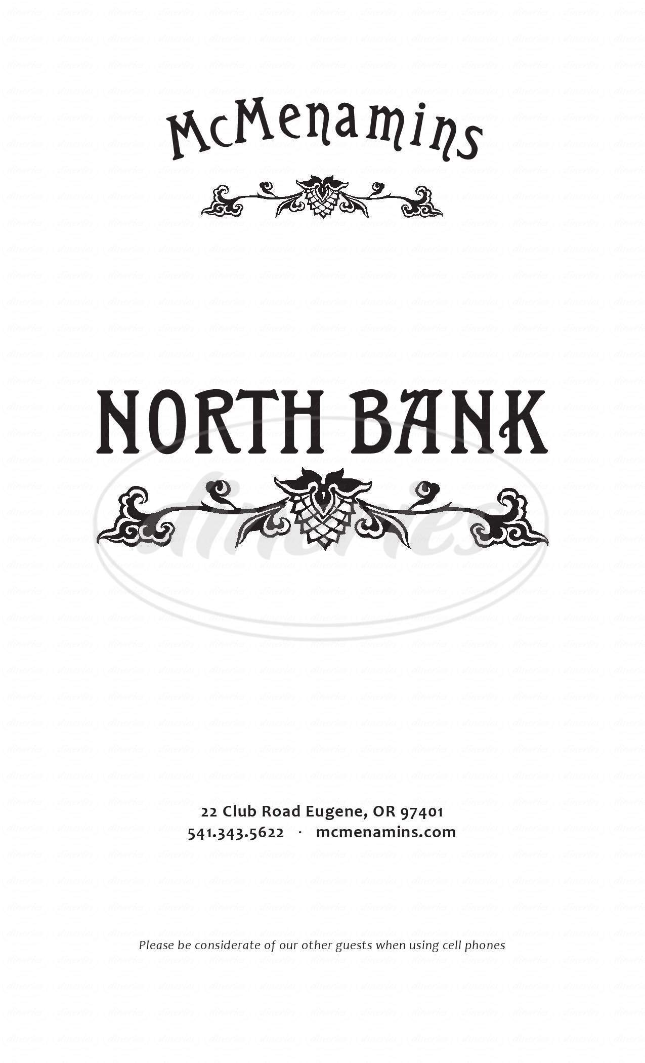 menu for North Bank