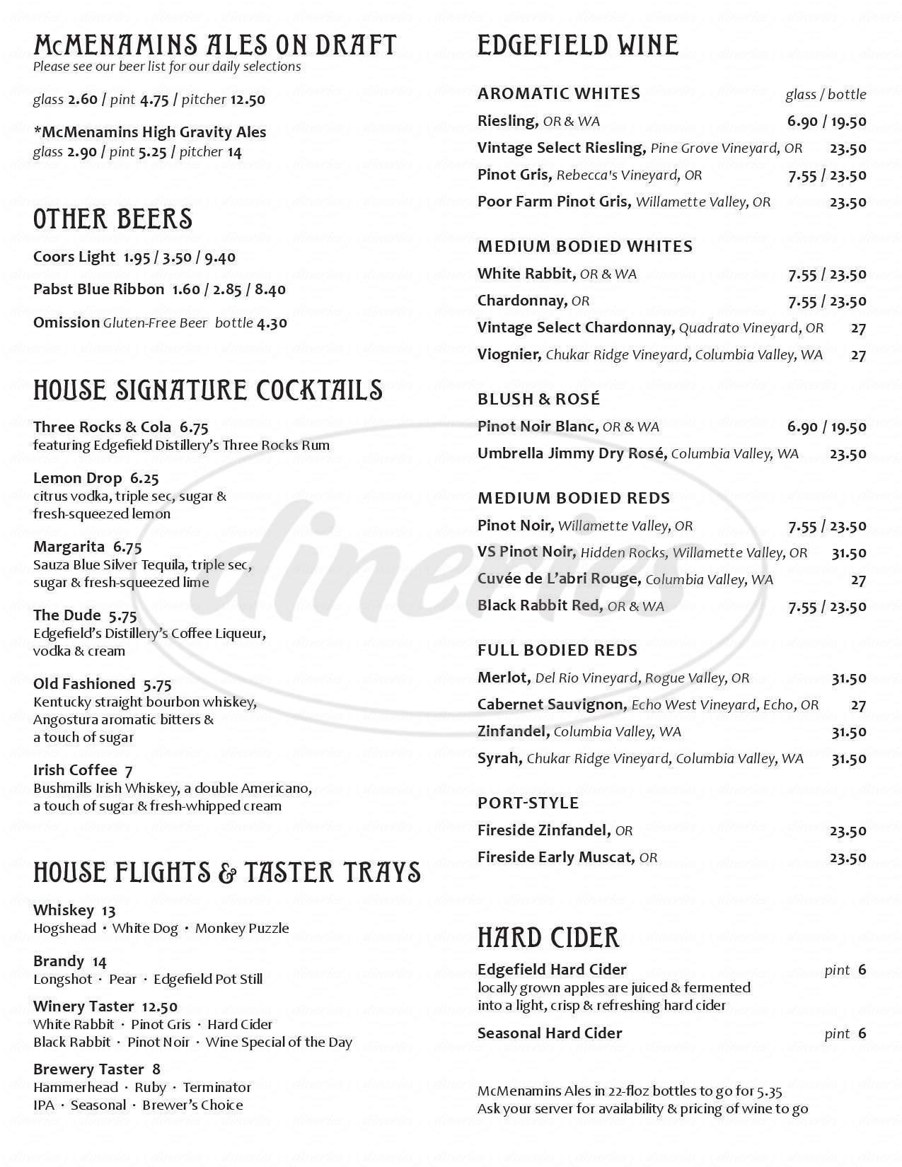 menu for Oregon City