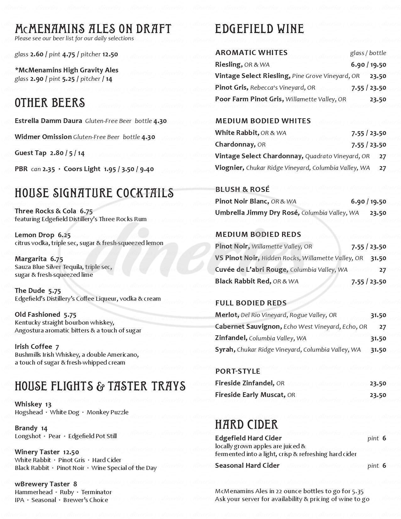 menu for Sherwood Pub