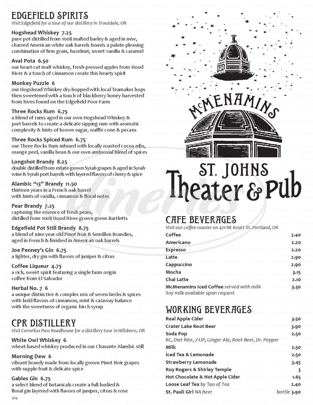 menu for St. Johns Theater & Pub