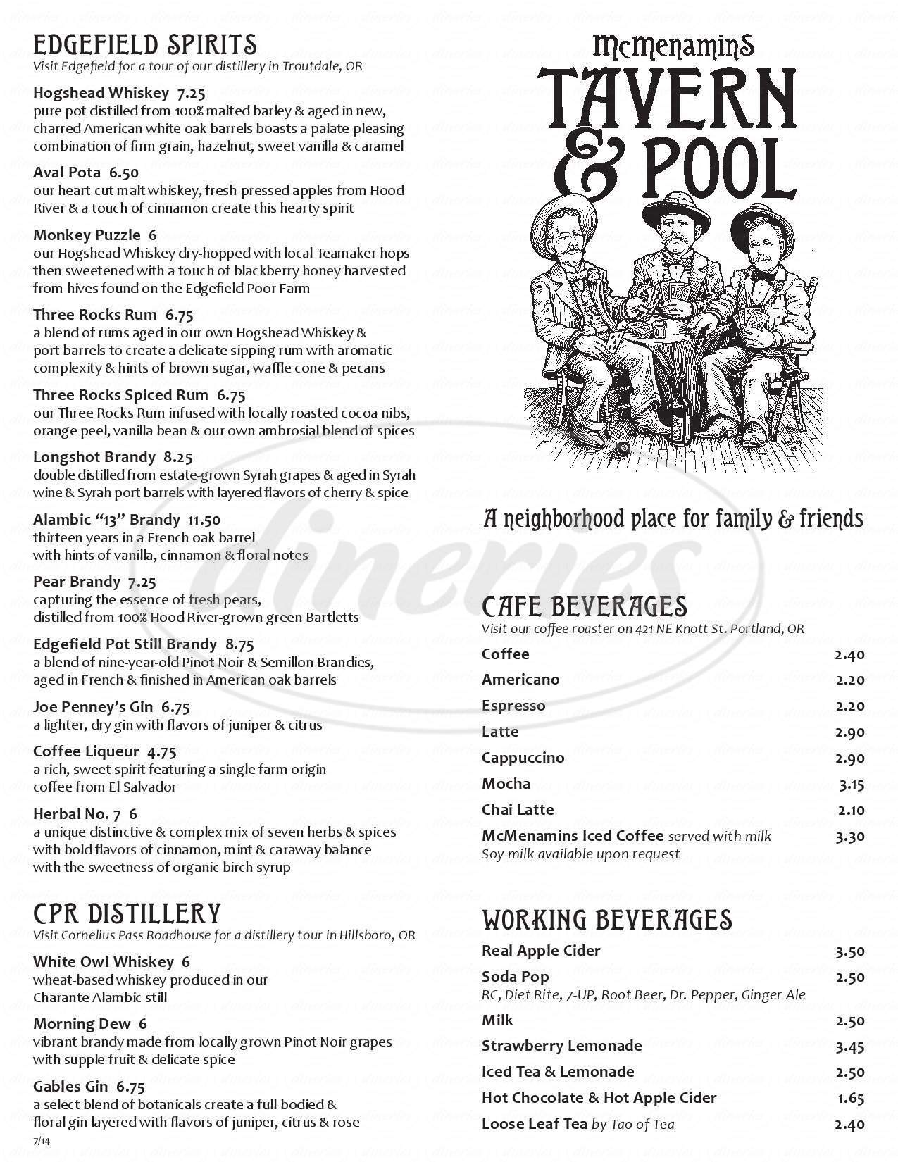 menu for McMenamins Tavern & Pool