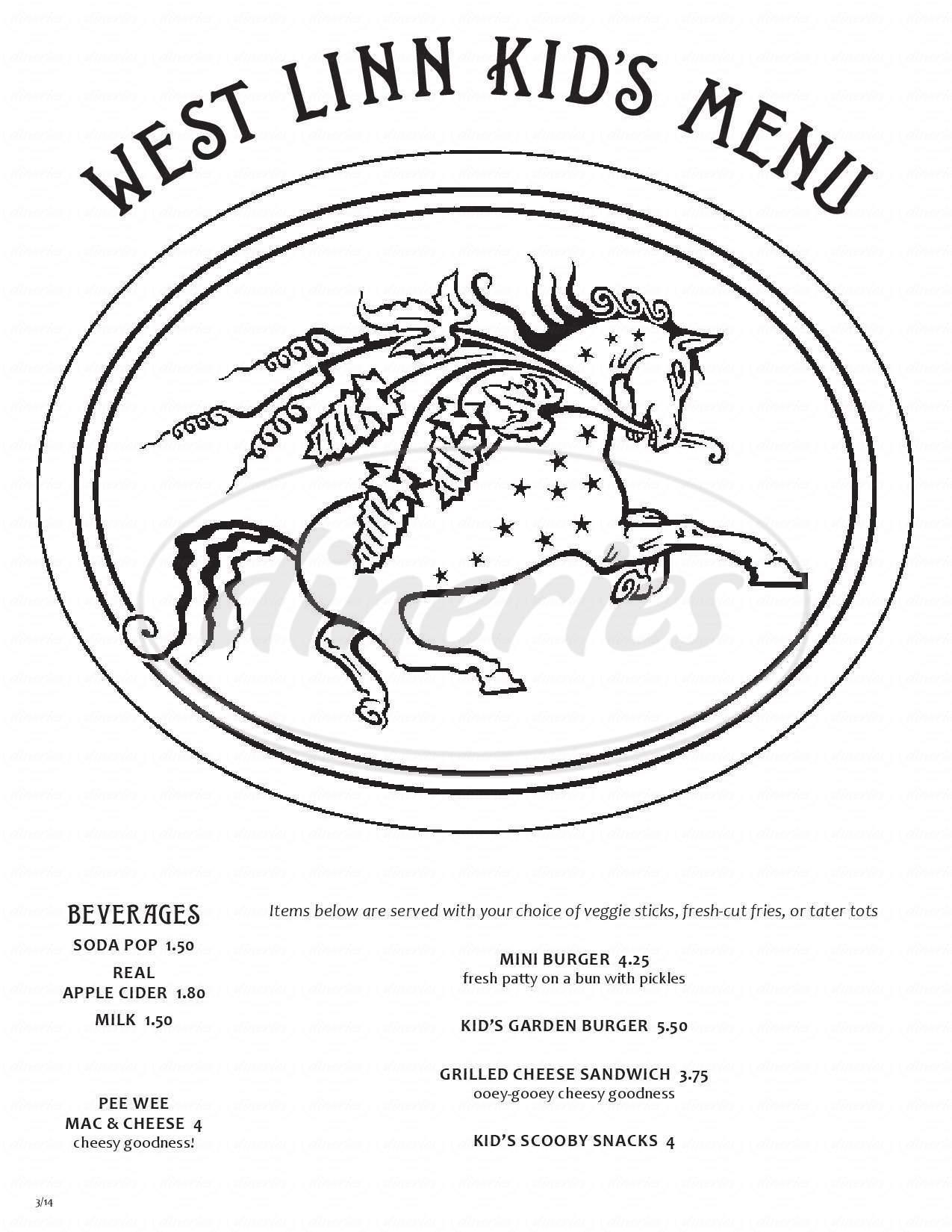 menu for McMenamins West Linn Pub