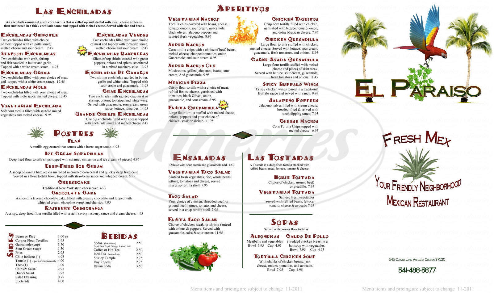 menu for El Paraiso Mexican Cuisine