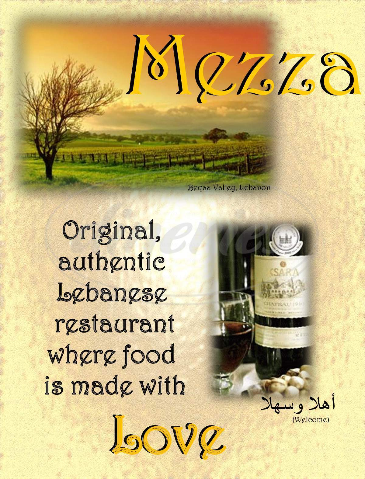 menu for Mezza Lebanese Cuisine