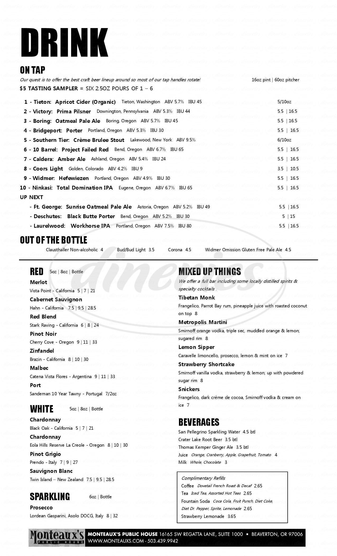 menu for Monteaux's Public House