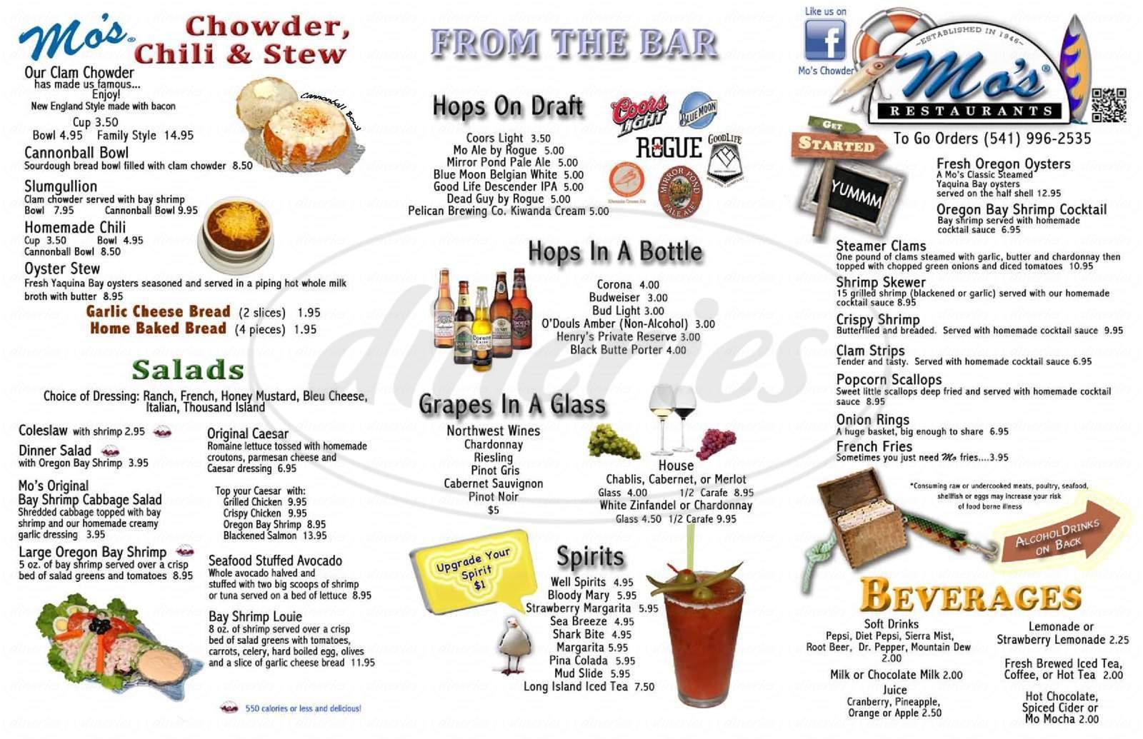 menu for Mo's