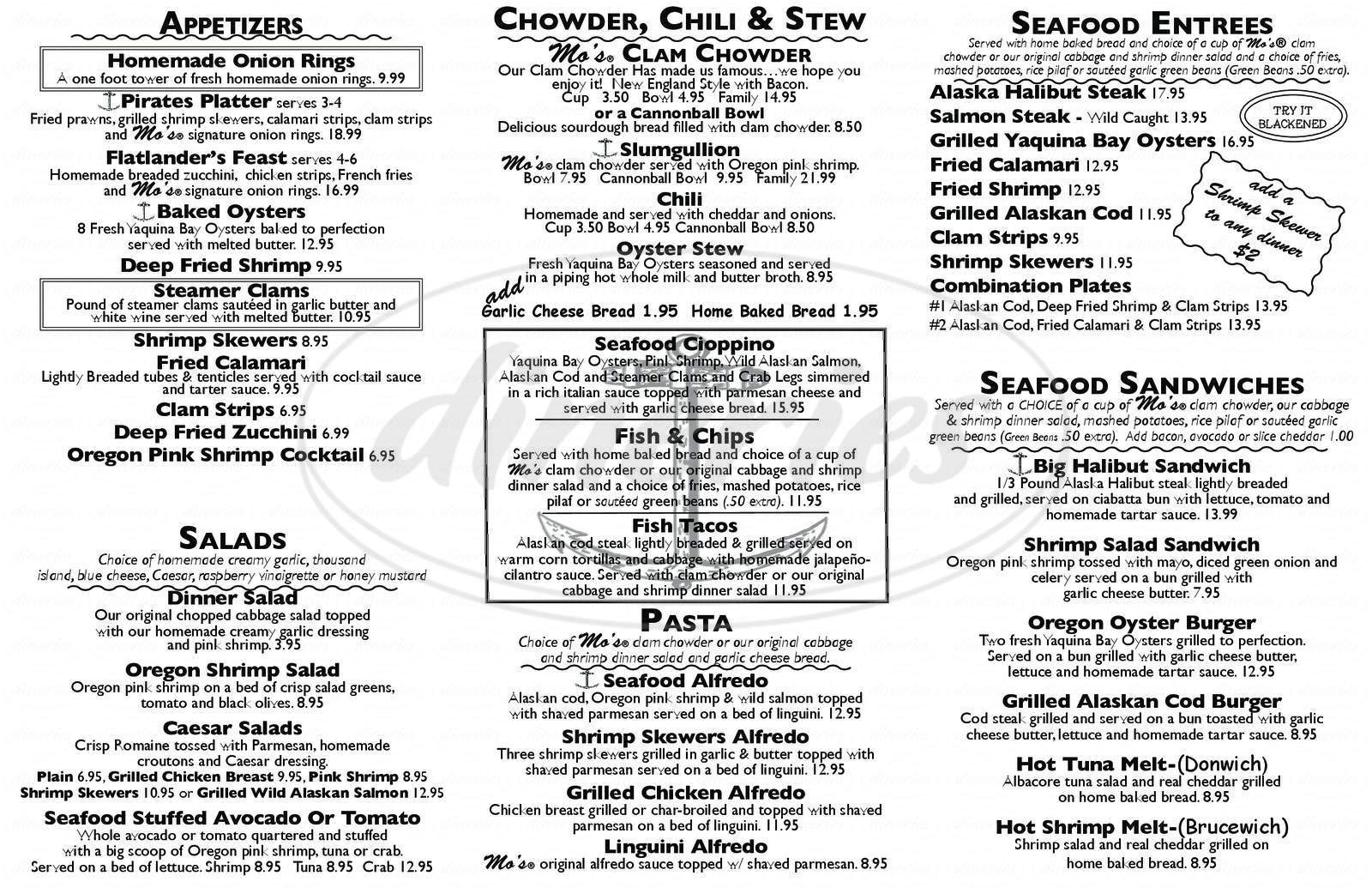 menu for Mo's Restaurant