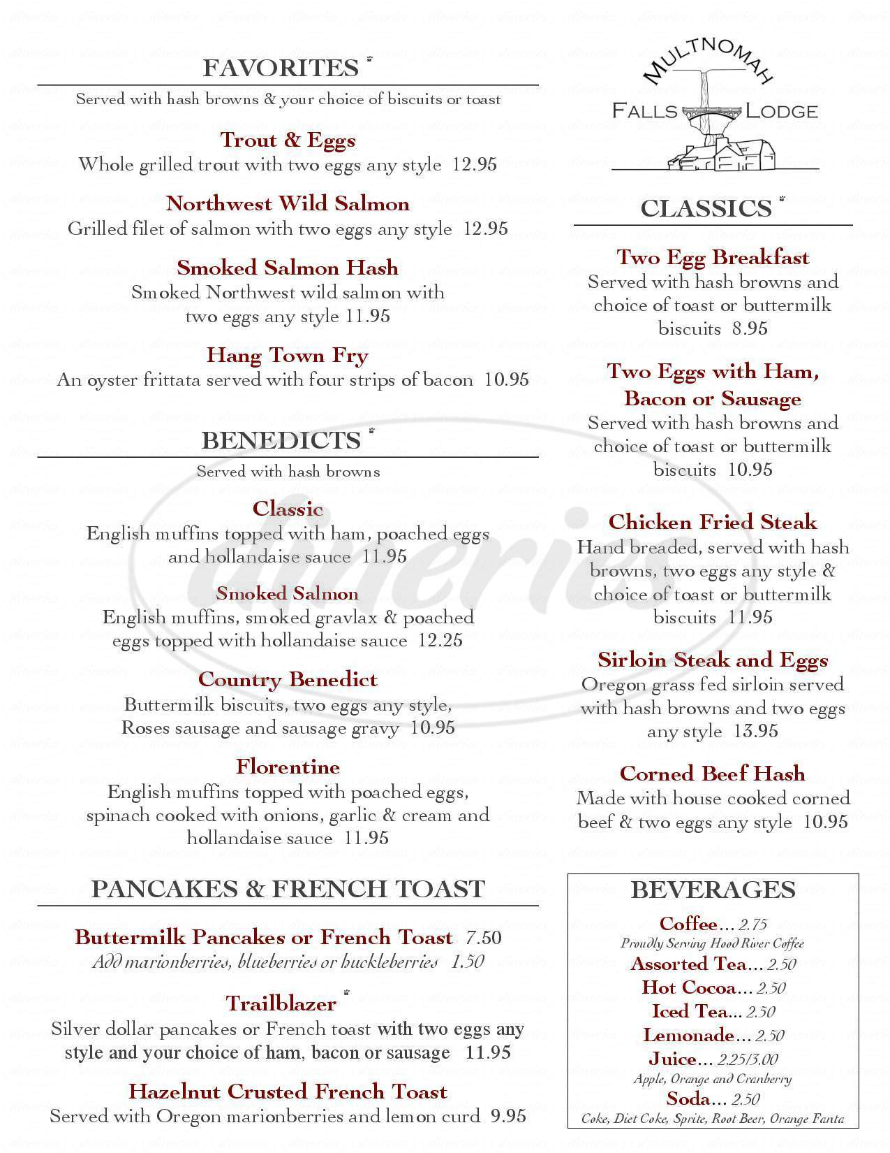 menu for Multnomah Falls Lodge Restaurant