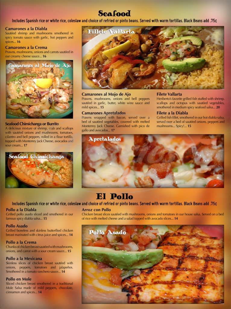 menu for Si Señor