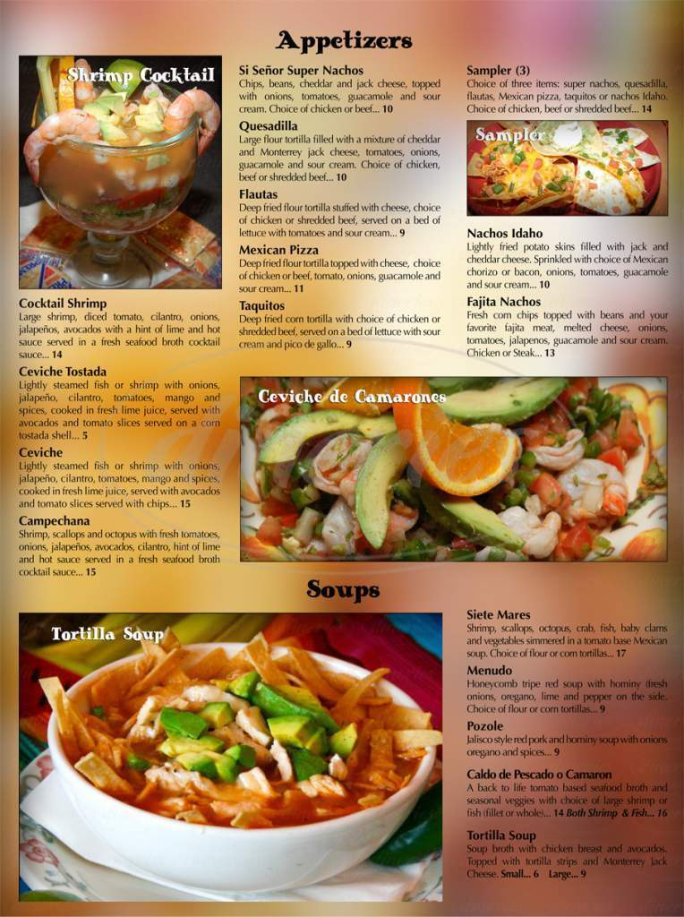 menu for Si Señor Mexican Restaurant