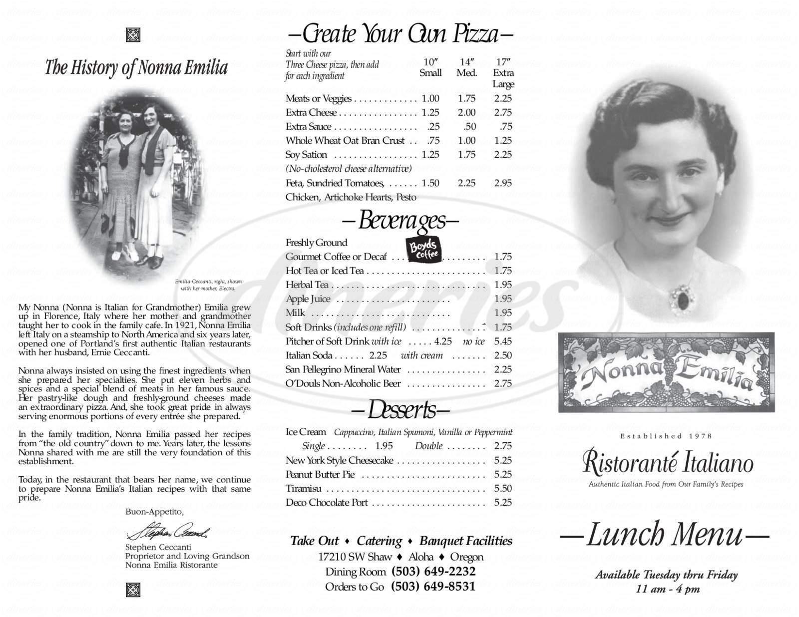 menu for Nonna Emilia Ristorante Italiano