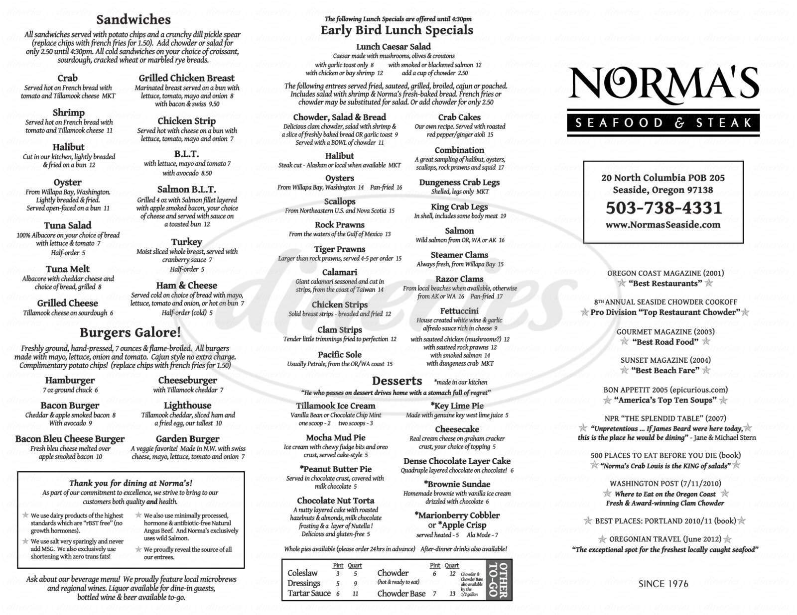 menu for Norma's Seafood & Steak
