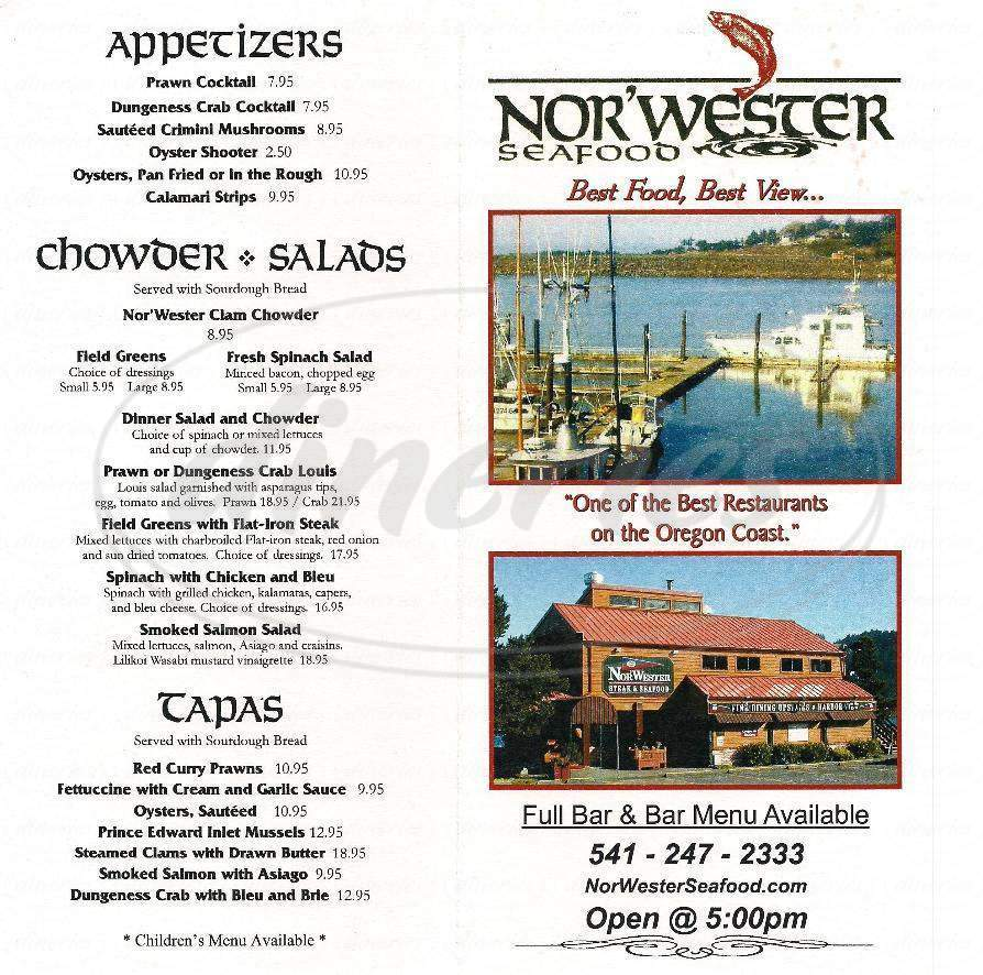 menu for NorWester Steak & Seafood