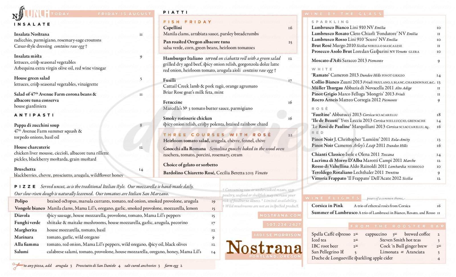 menu for Nostrana