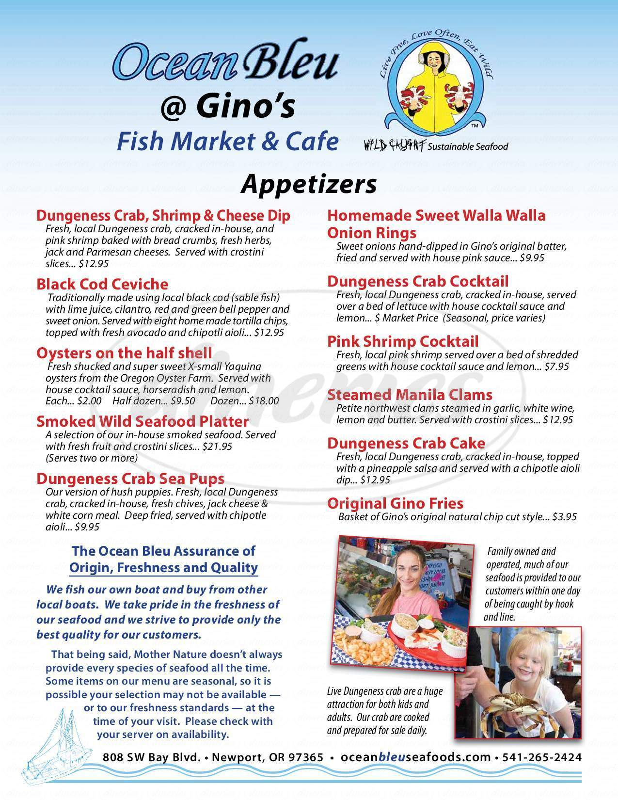 menu for OceanBleu at Gino's Fish Market & Cafe