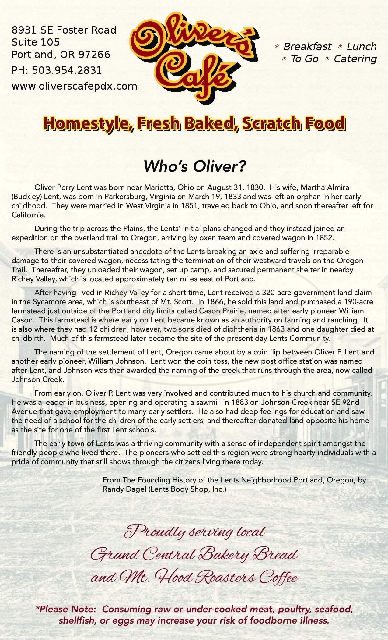 menu for Oliver's Cafe