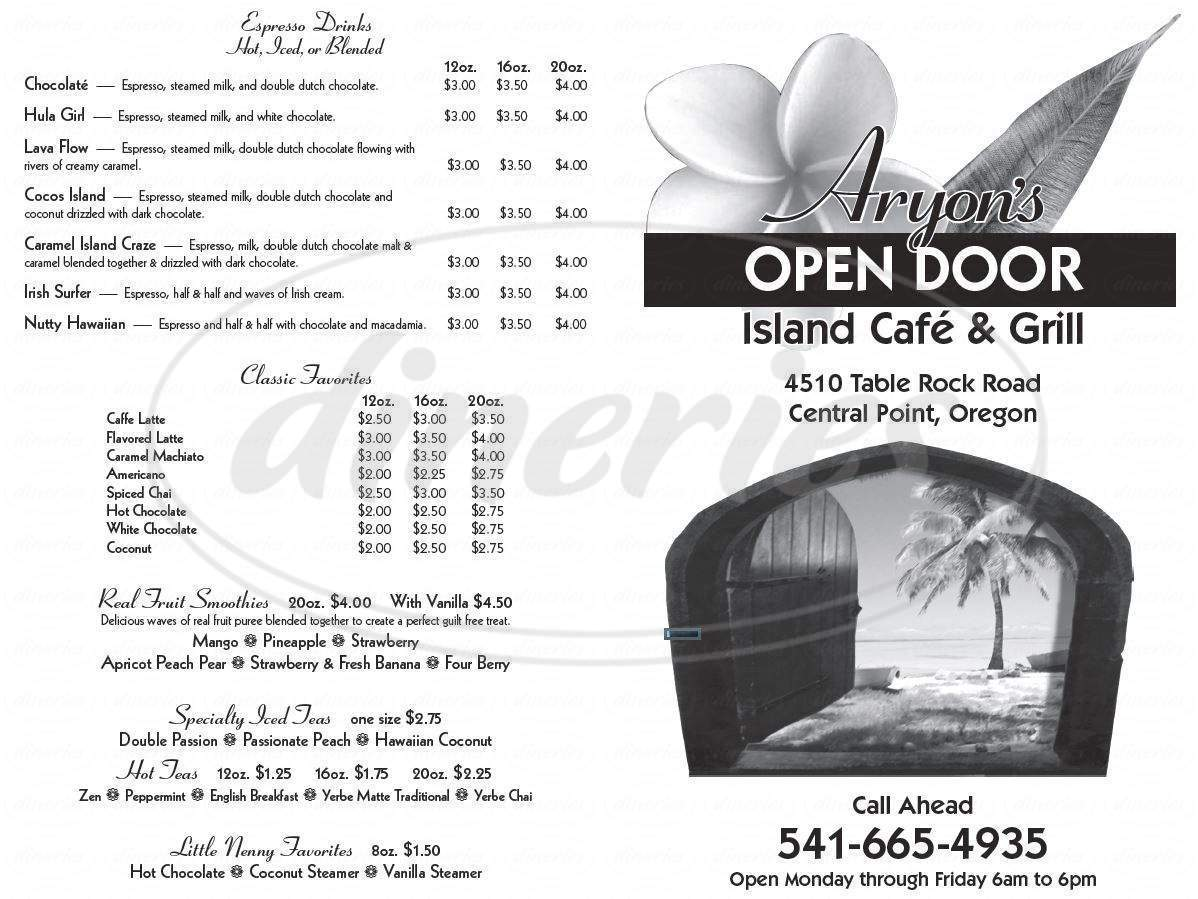 menu for Aryon's Open Door Cafe & Grill