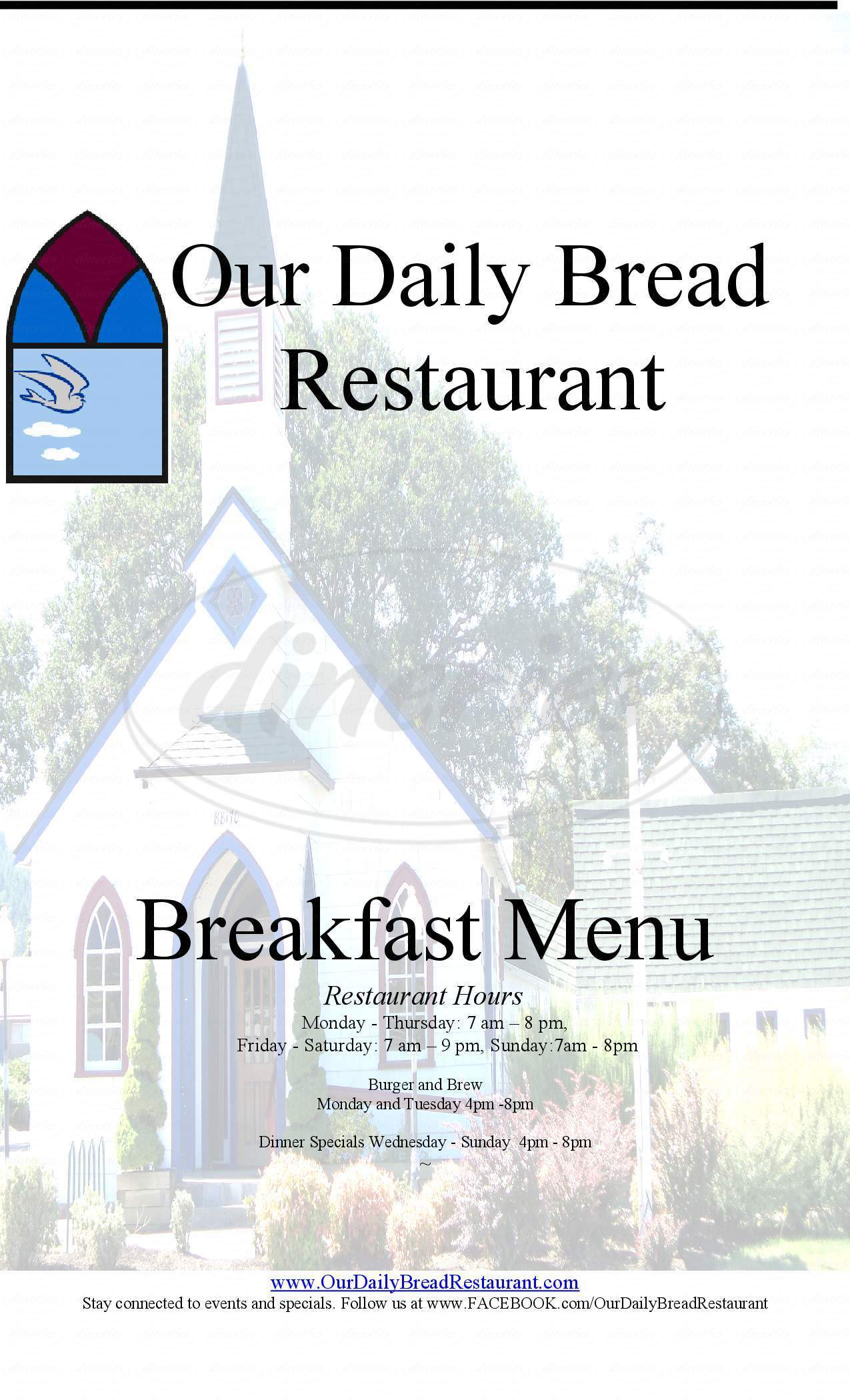 menu for Our Daily Bread Restaurant
