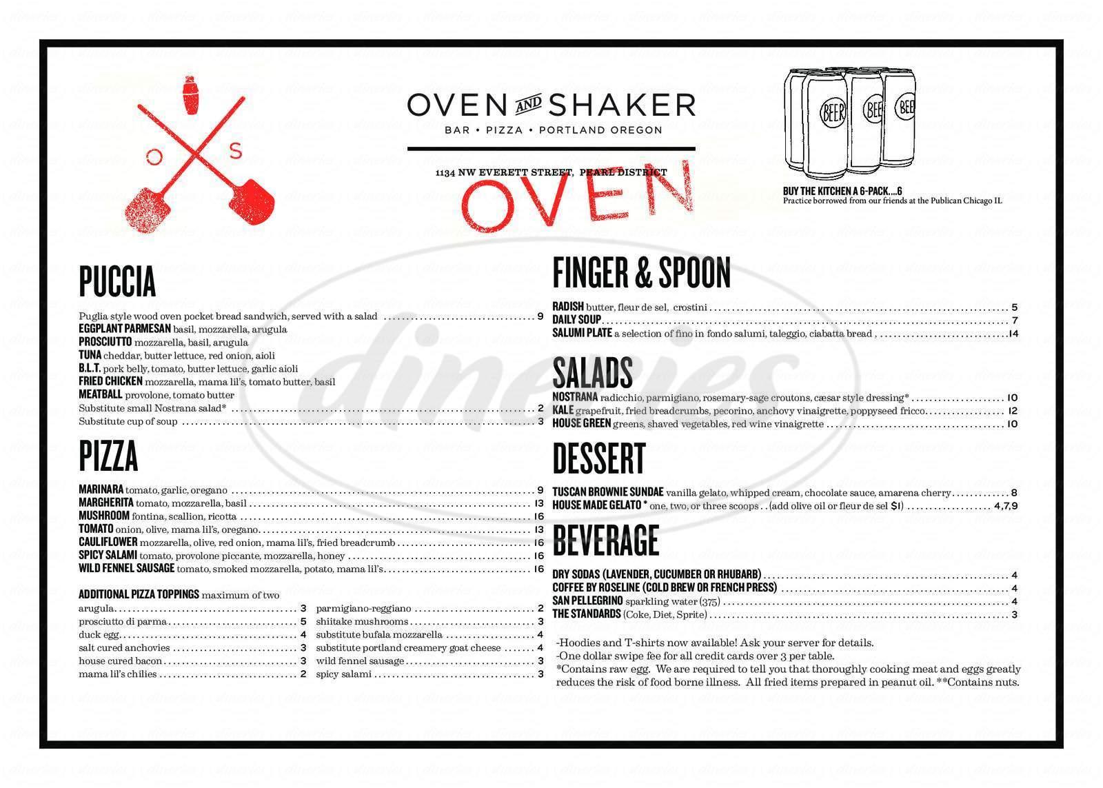menu for Oven & Shaker