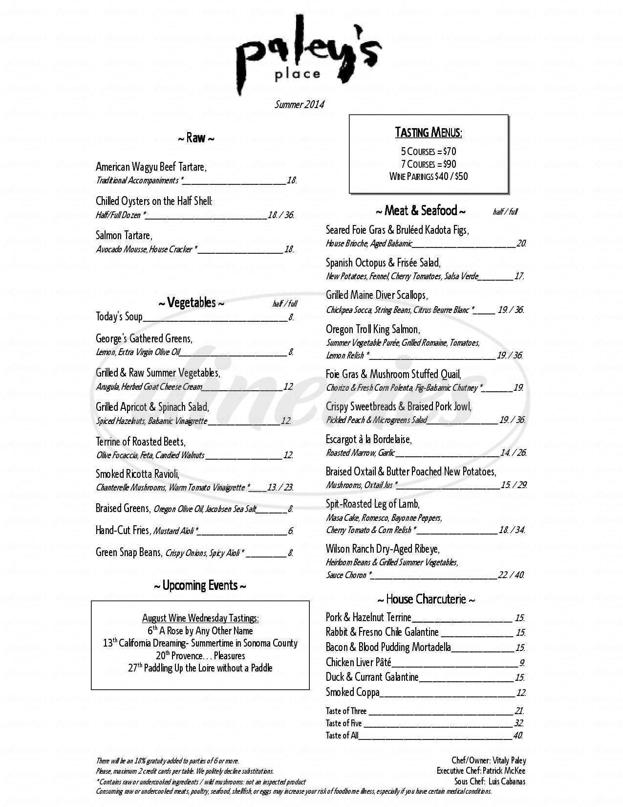 menu for Paley's Place