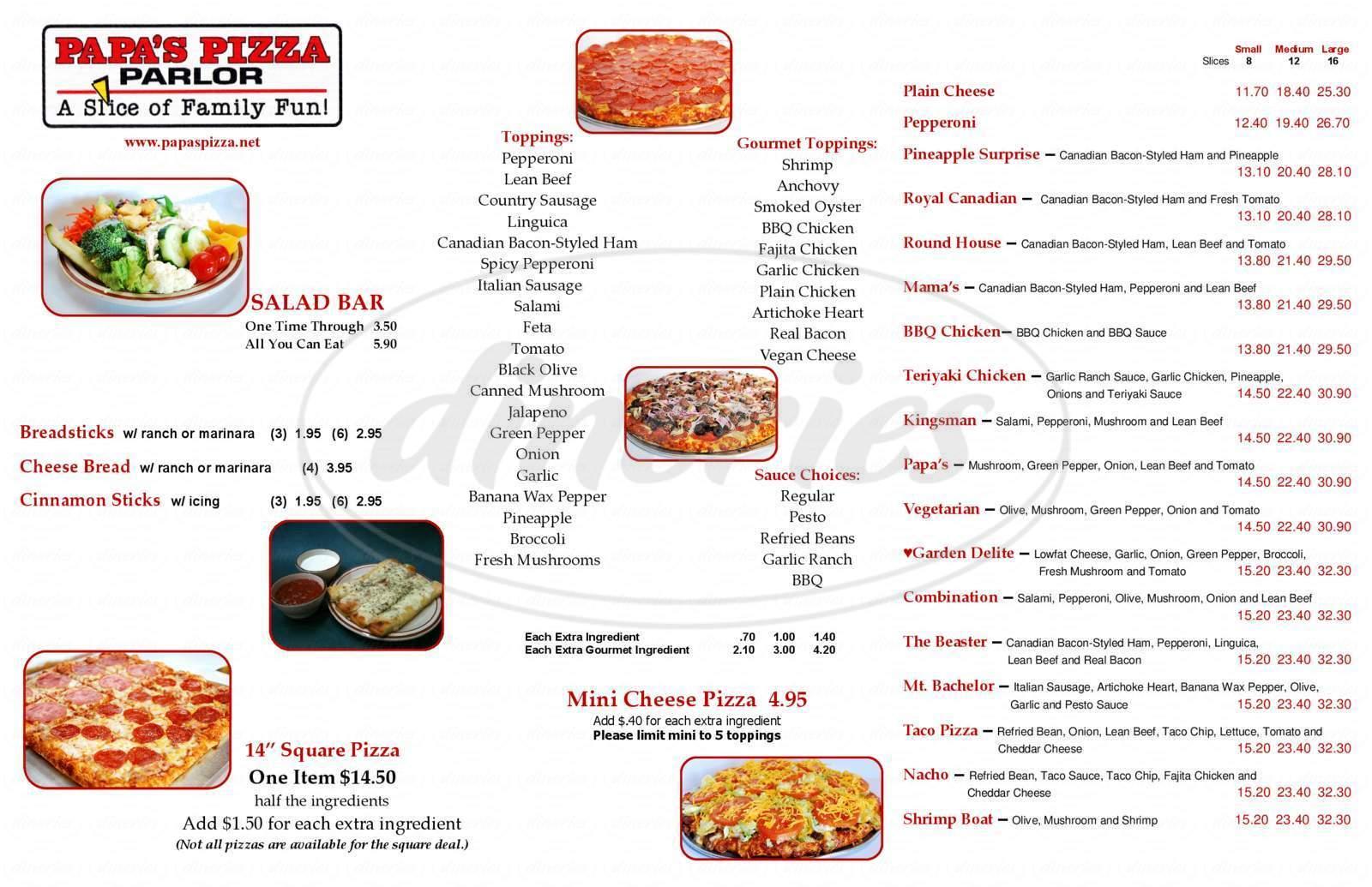 menu for Papas Pizza Parlor
