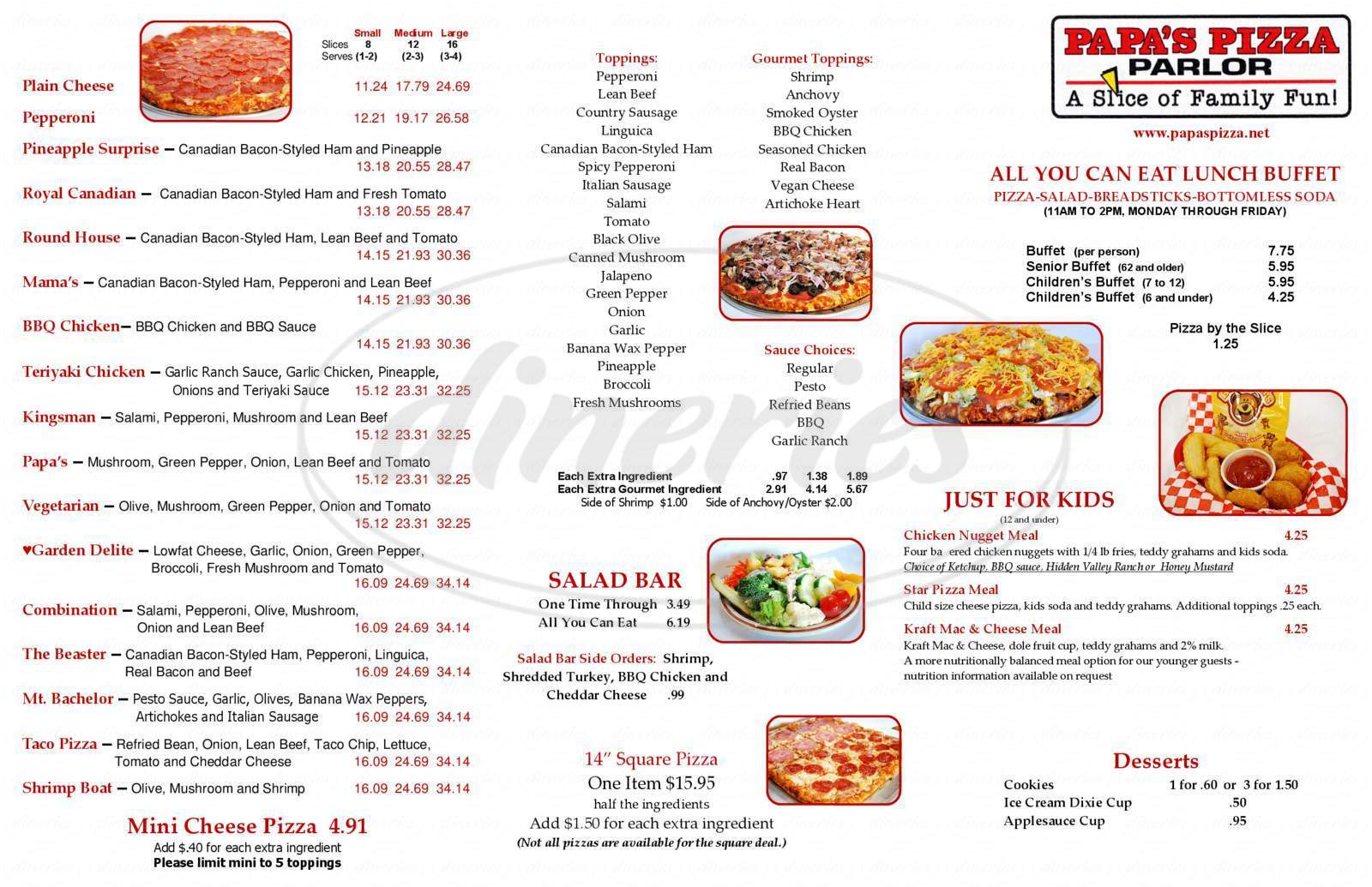 menu for Papa's Pizza