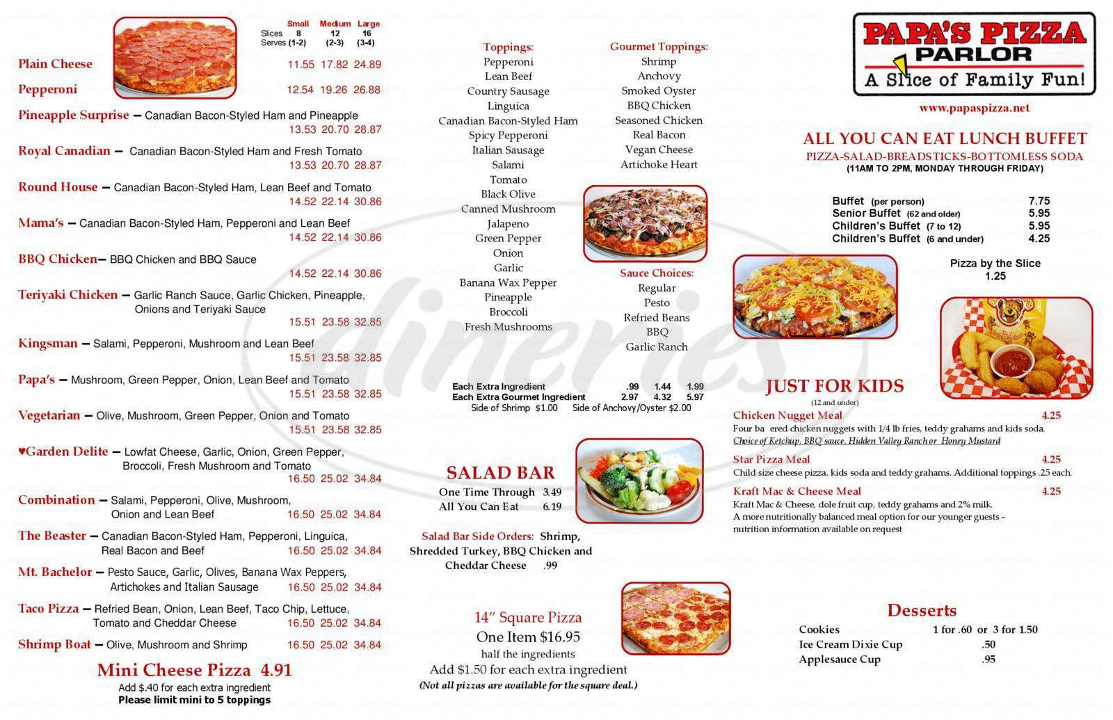 menu for Papa's Pizza Parlor