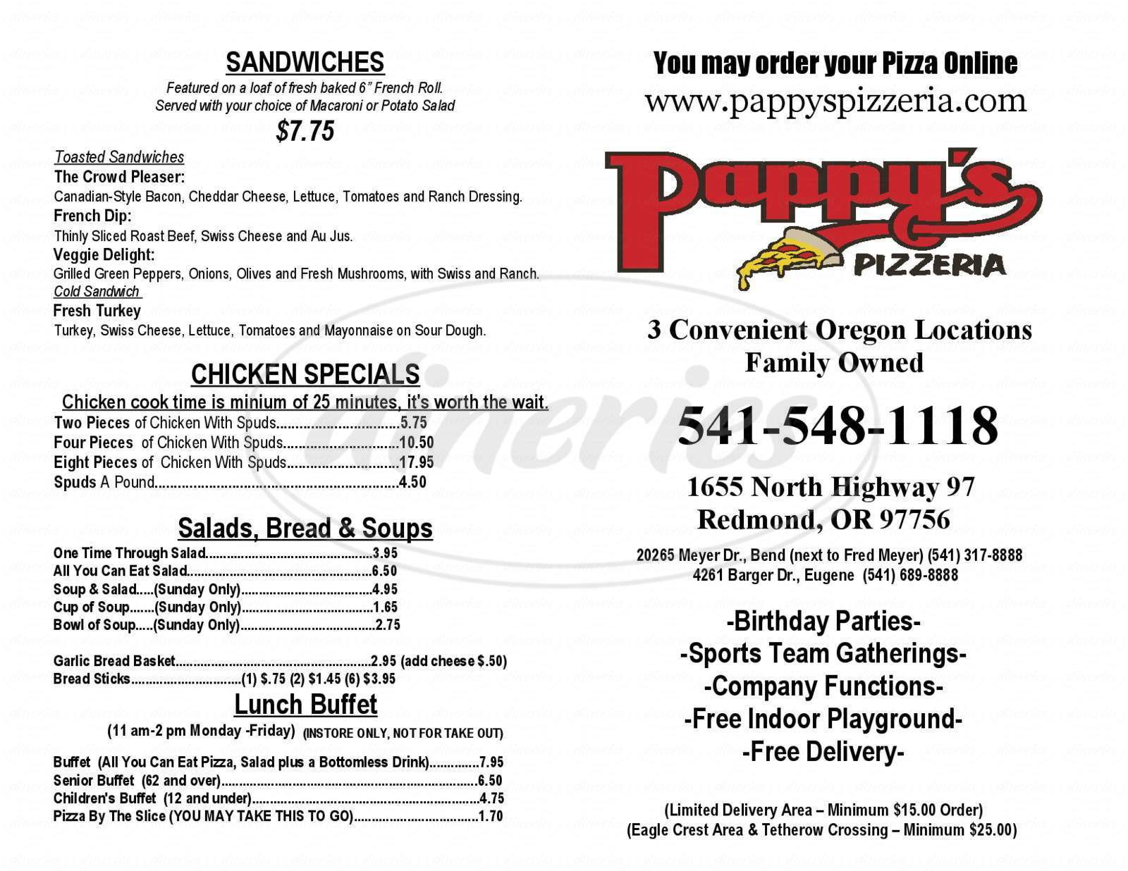 menu for Pappys Pizzeria