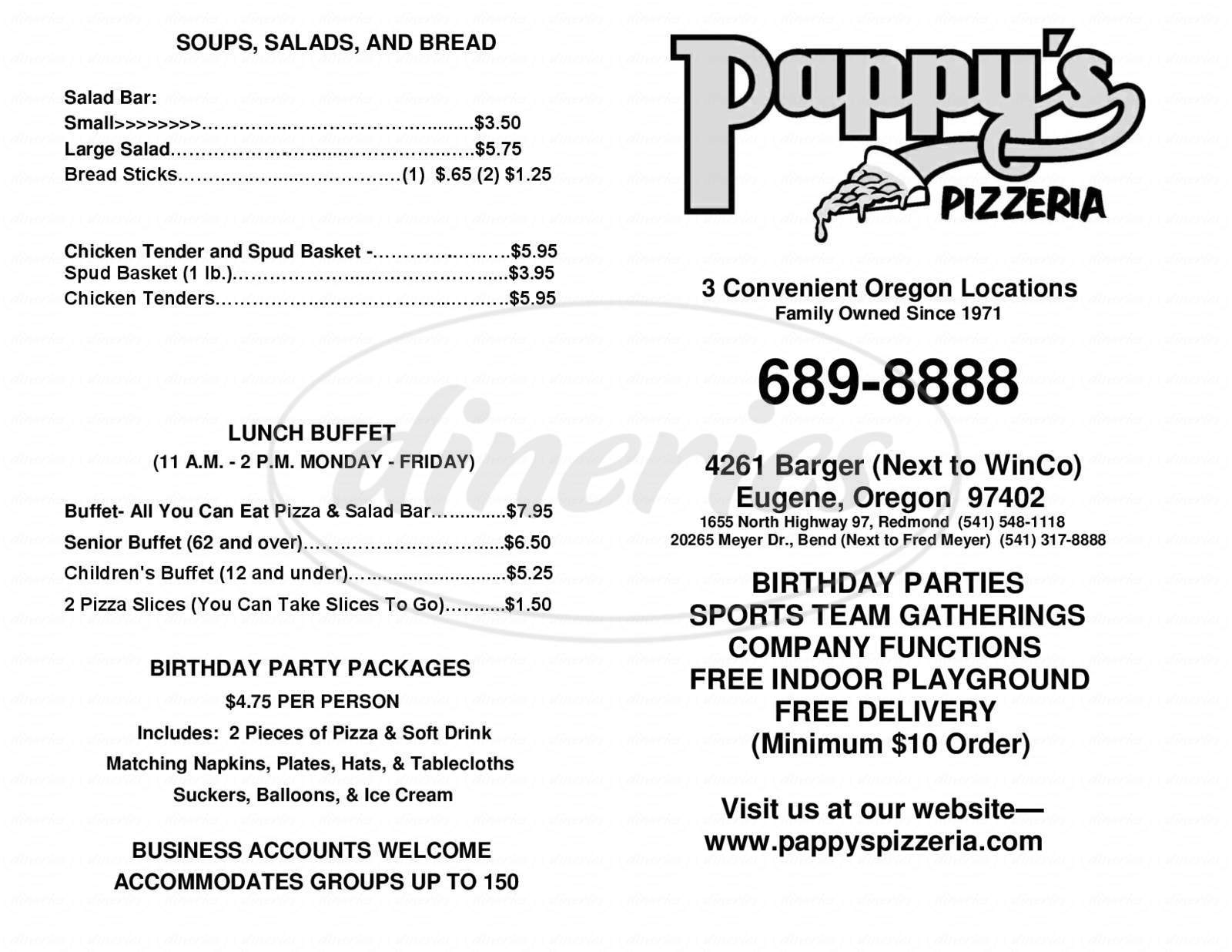 menu for Pappy's Pizzeria