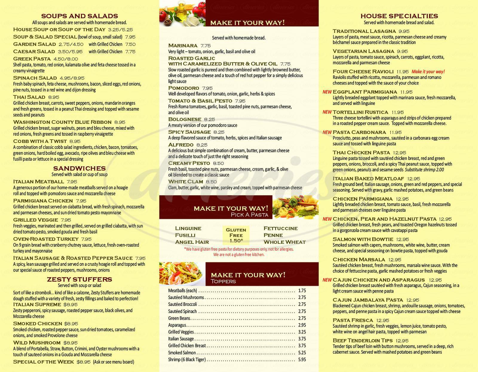 menu for Pasta Pronto Cafe