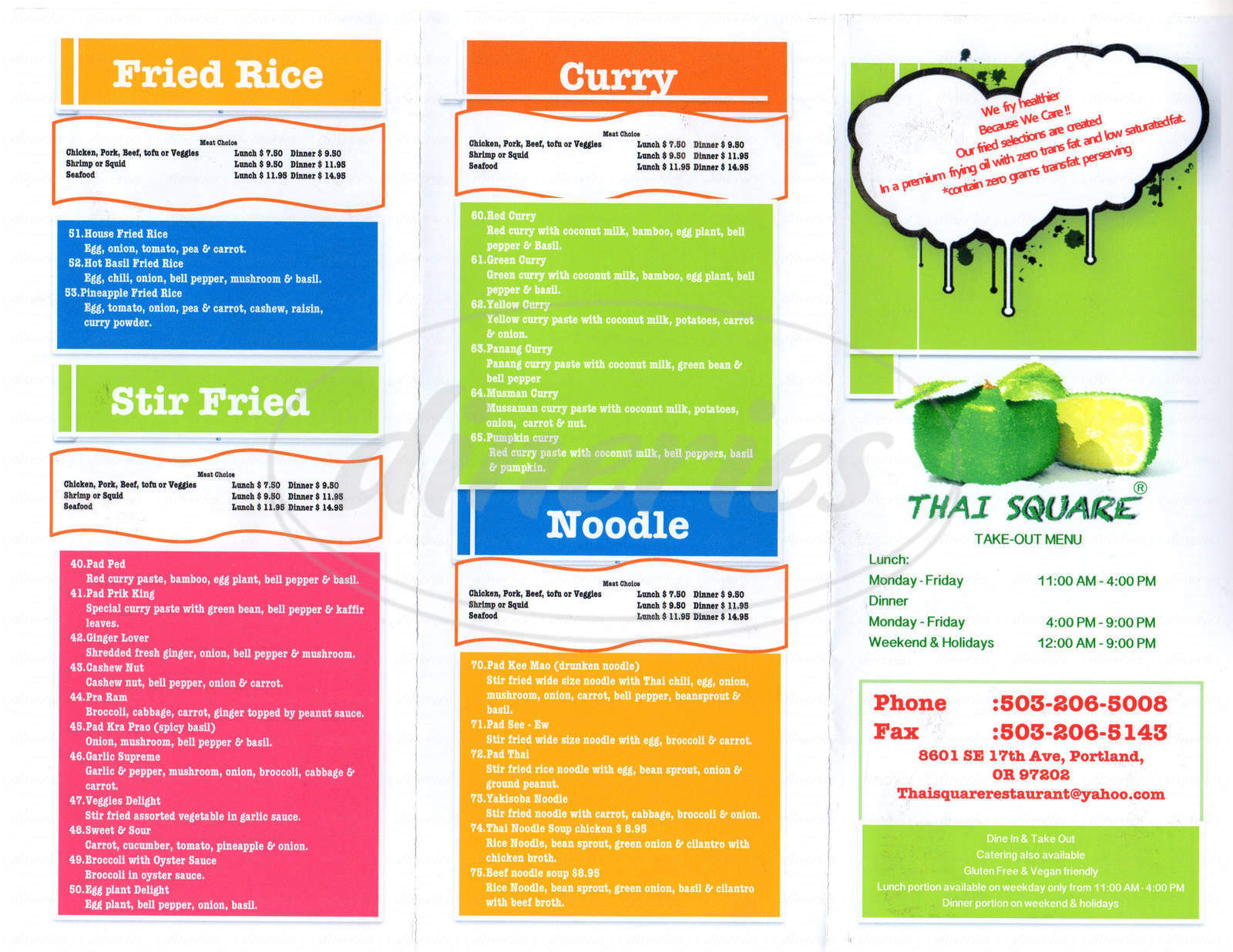 menu for Thai Square
