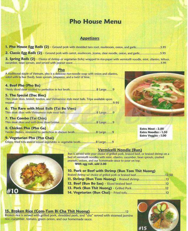 menu for Pho House