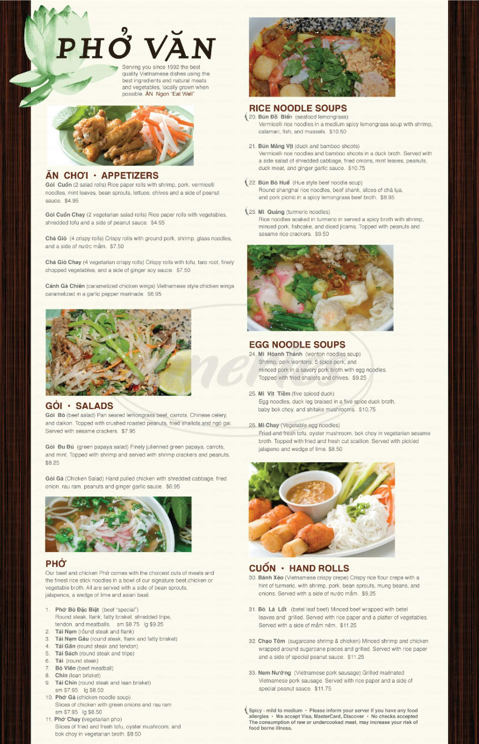 menu for Pho Van Vietnamese Noodle Soups and Grill