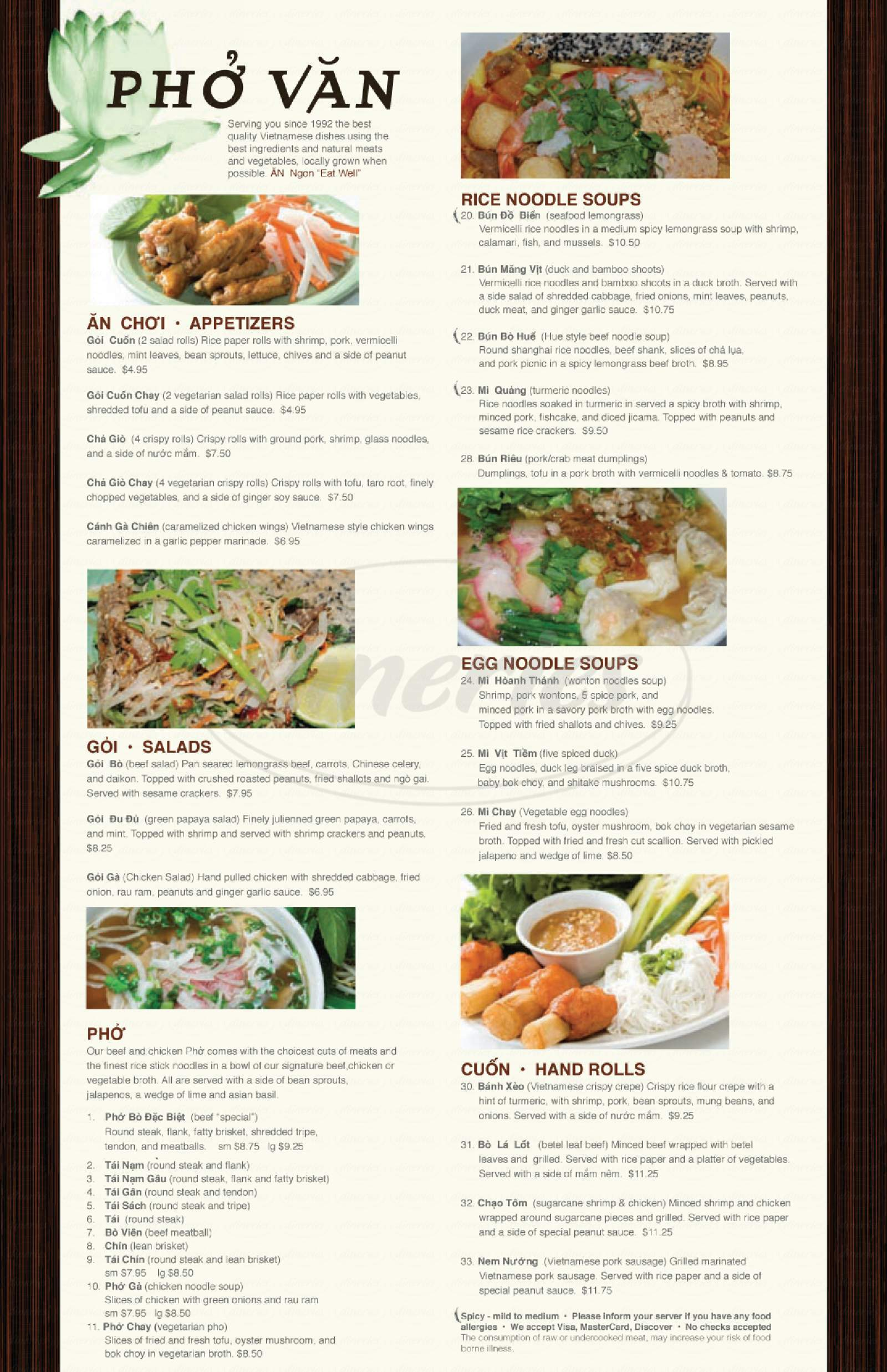 menu for Pho Van