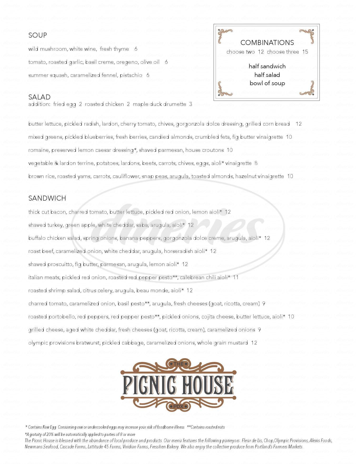 menu for The Picnic House