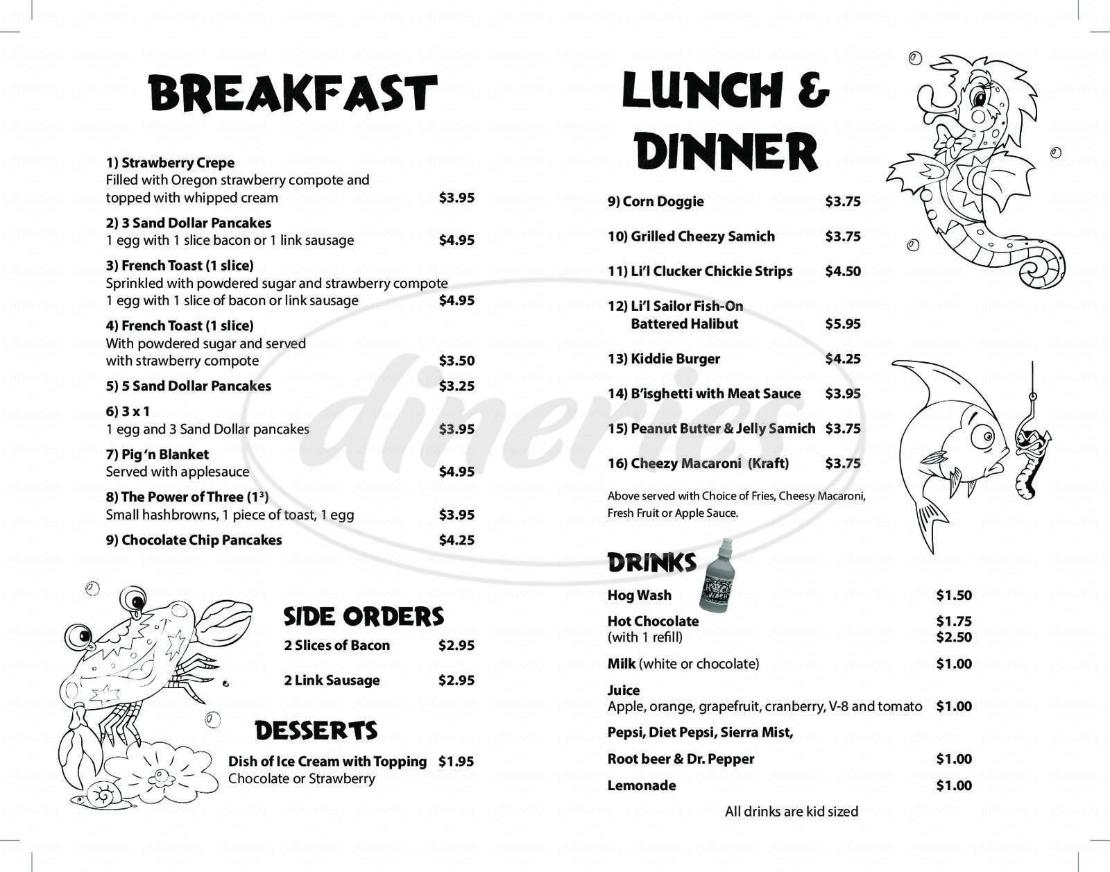 menu for Pig 'N Pancake
