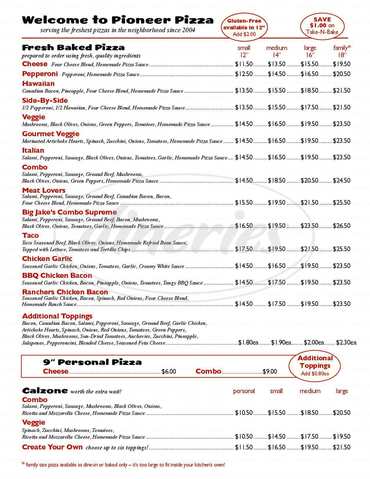 menu for Pioneer Take-N-Bake Pizza