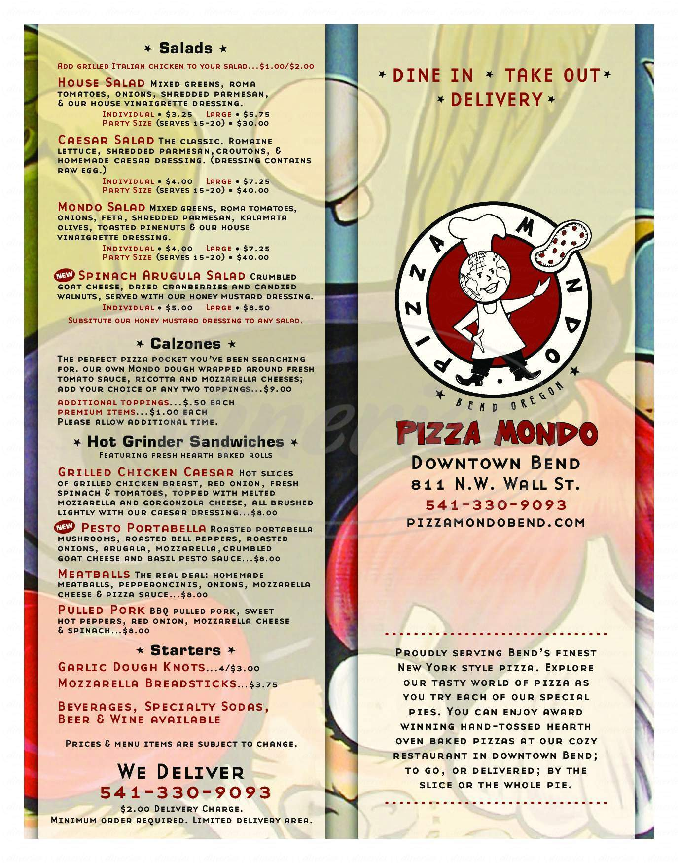 menu for Pizza Mondo