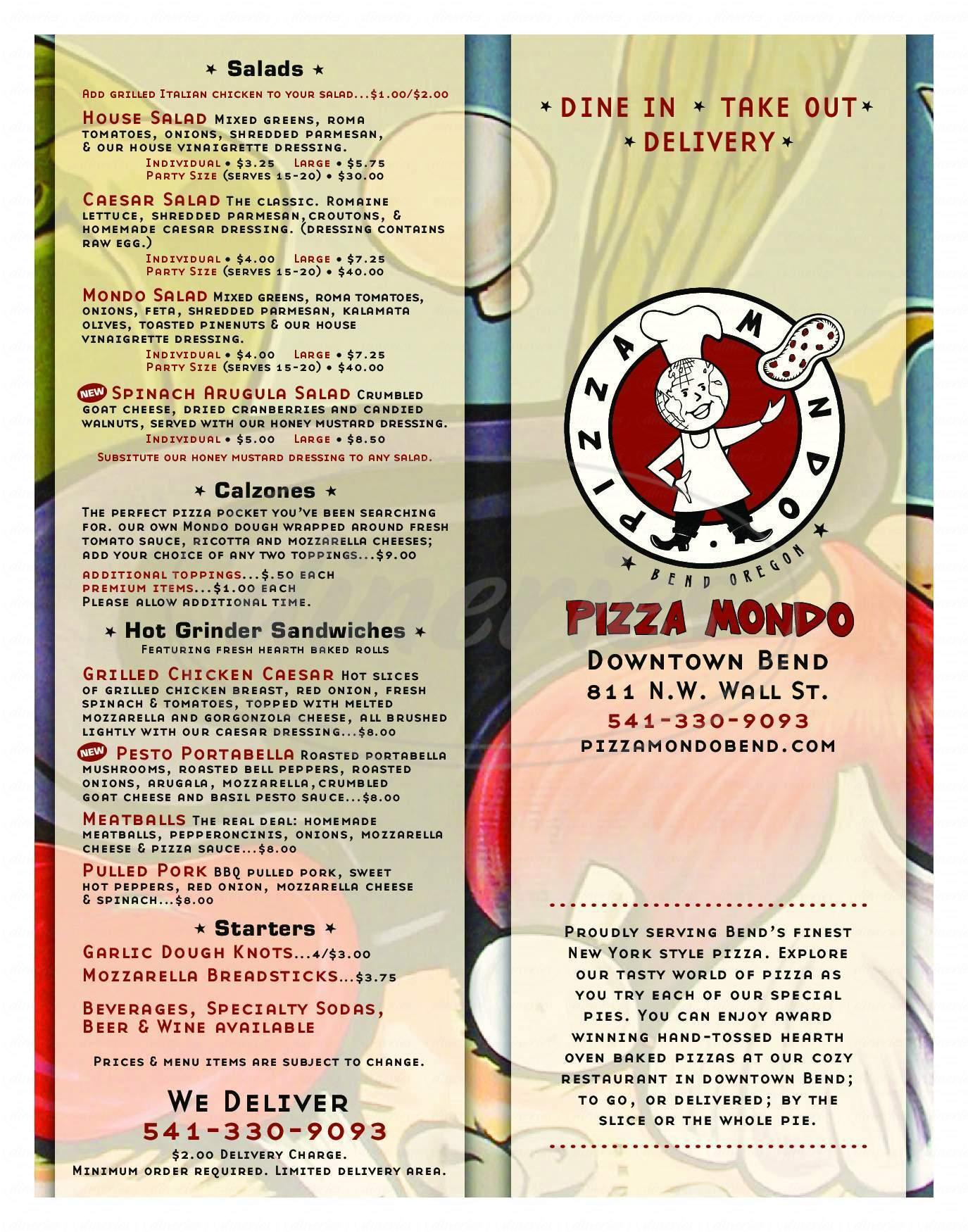 menu for Pizza Mondo