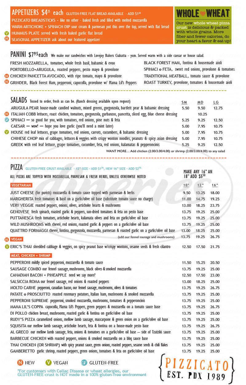 menu for Pizzicato Gourmet Pizza