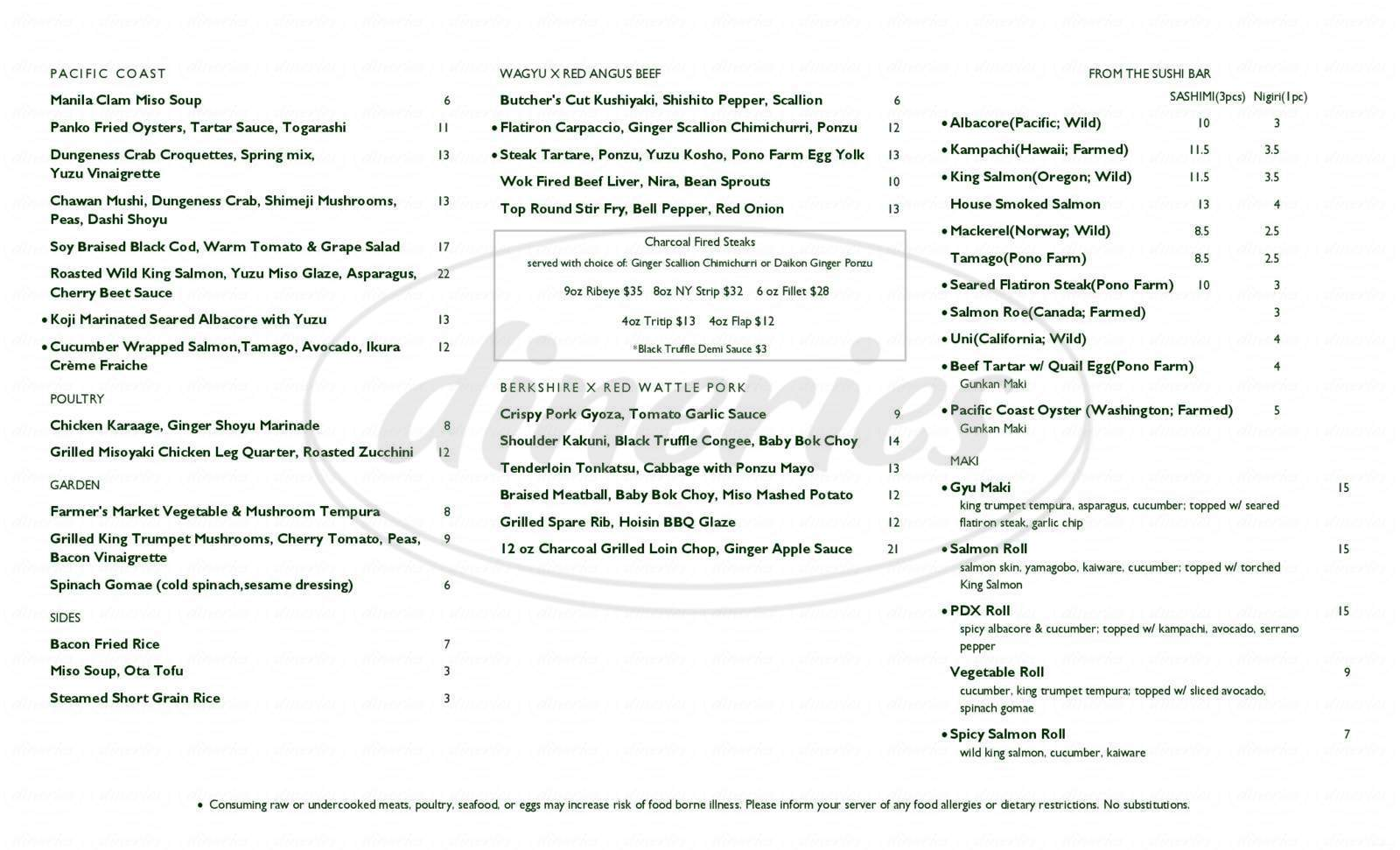 menu for Pono Farm & Fine Meats
