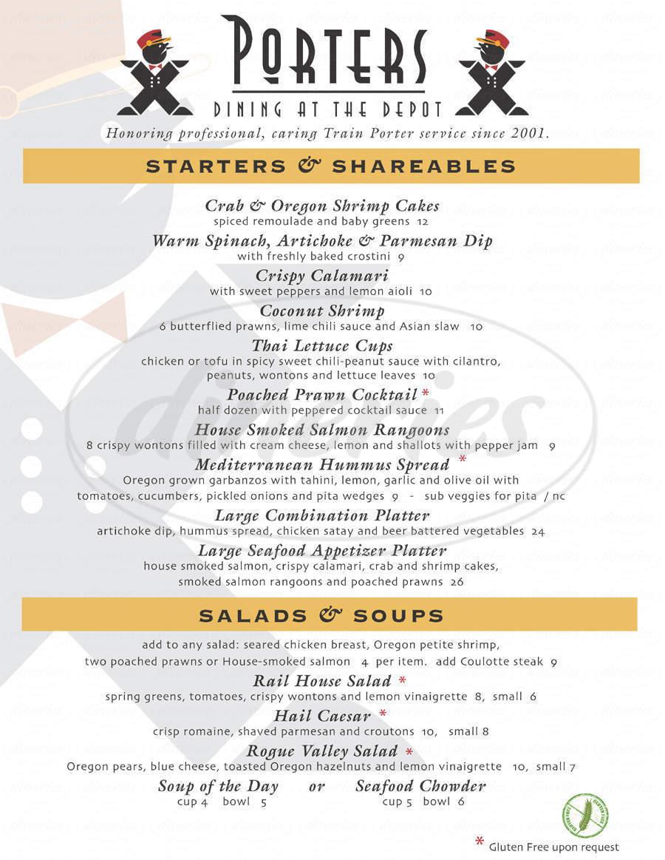 menu for Porters