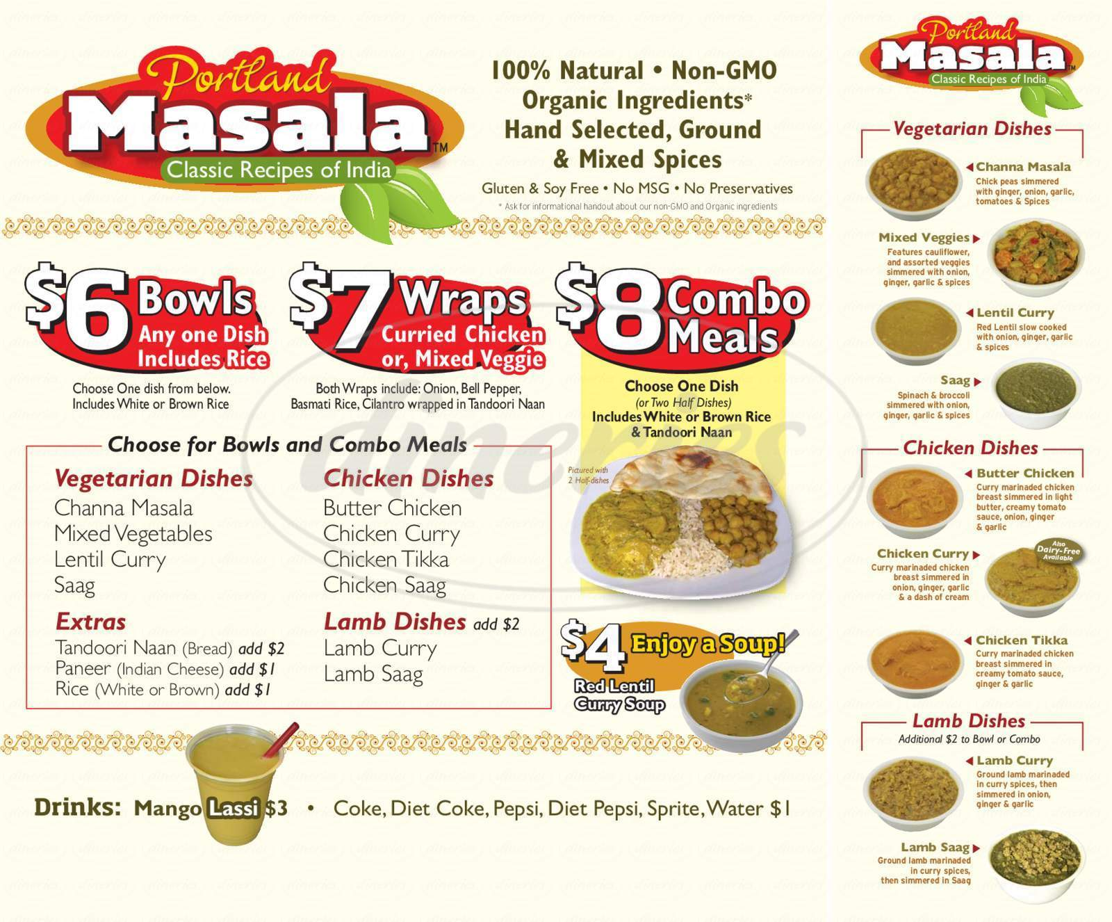 menu for Portland Masala