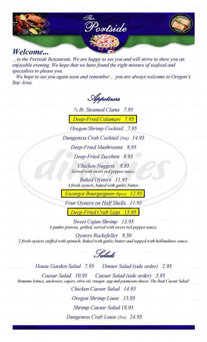 menu for Sushi Garden - The Portside Restaurant