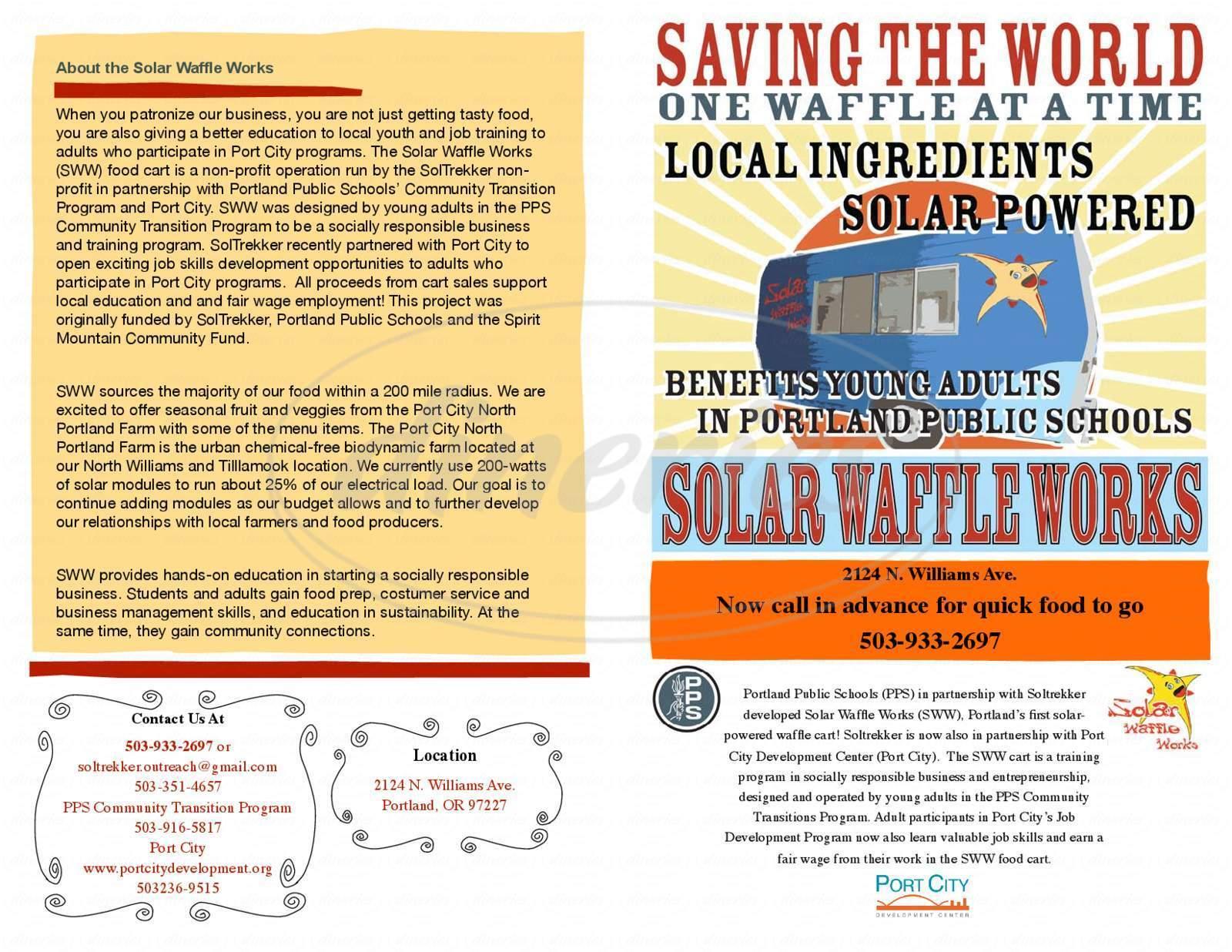 menu for Solar Waffle Works