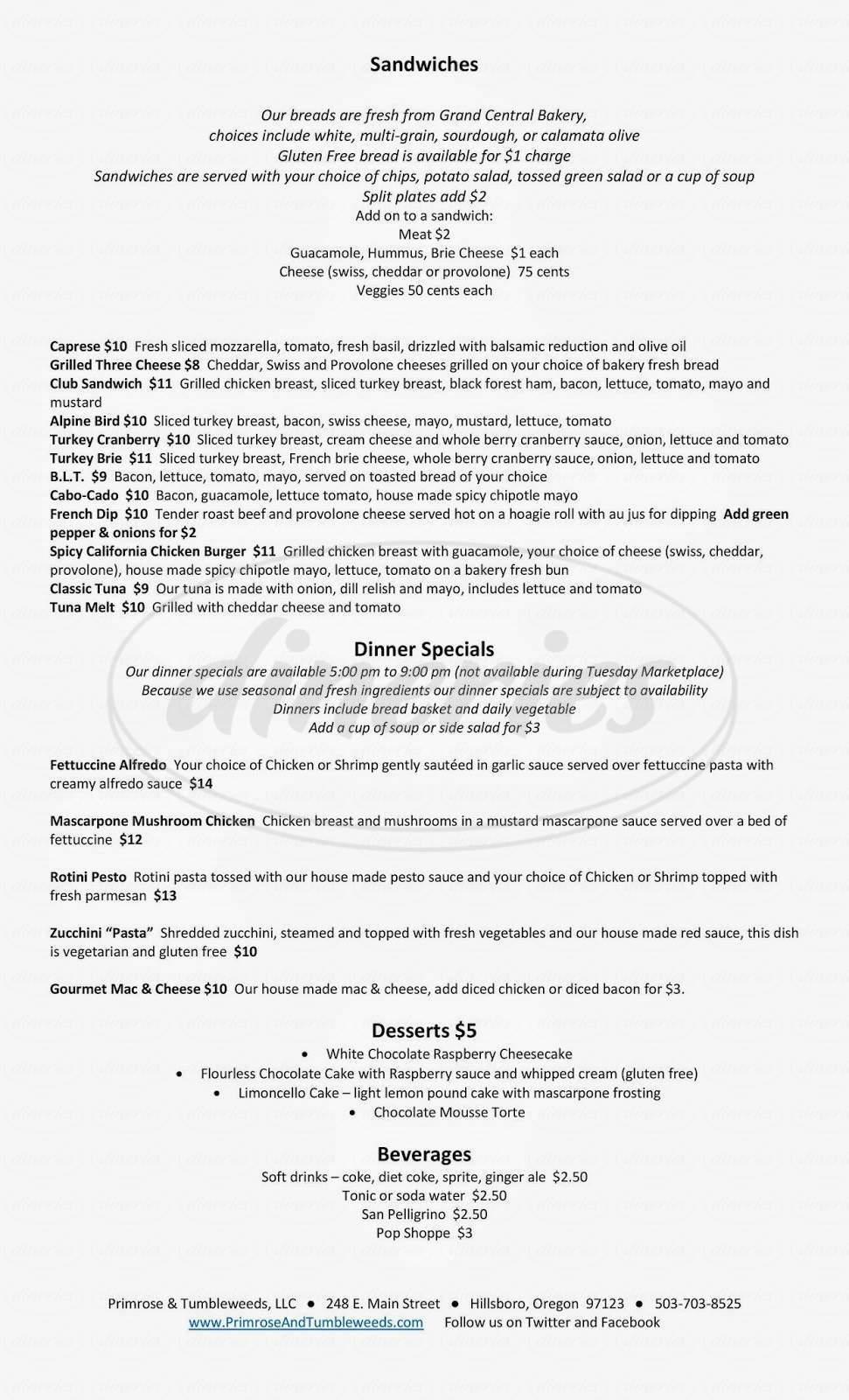 menu for Primrose & Tumbleweeds
