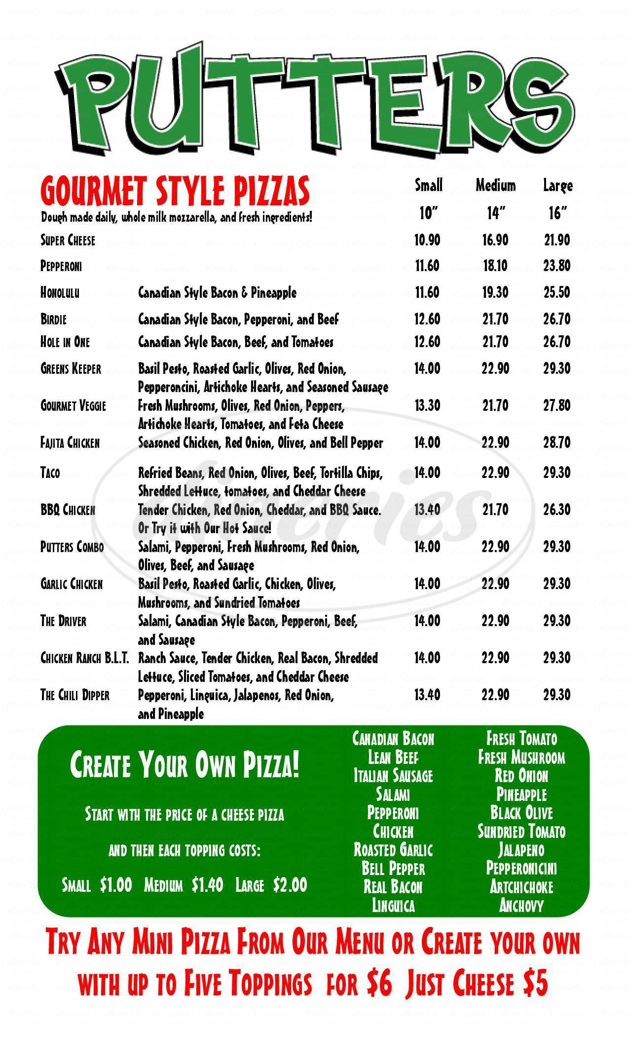 menu for Putters Gourmet Pizza & Fun Center