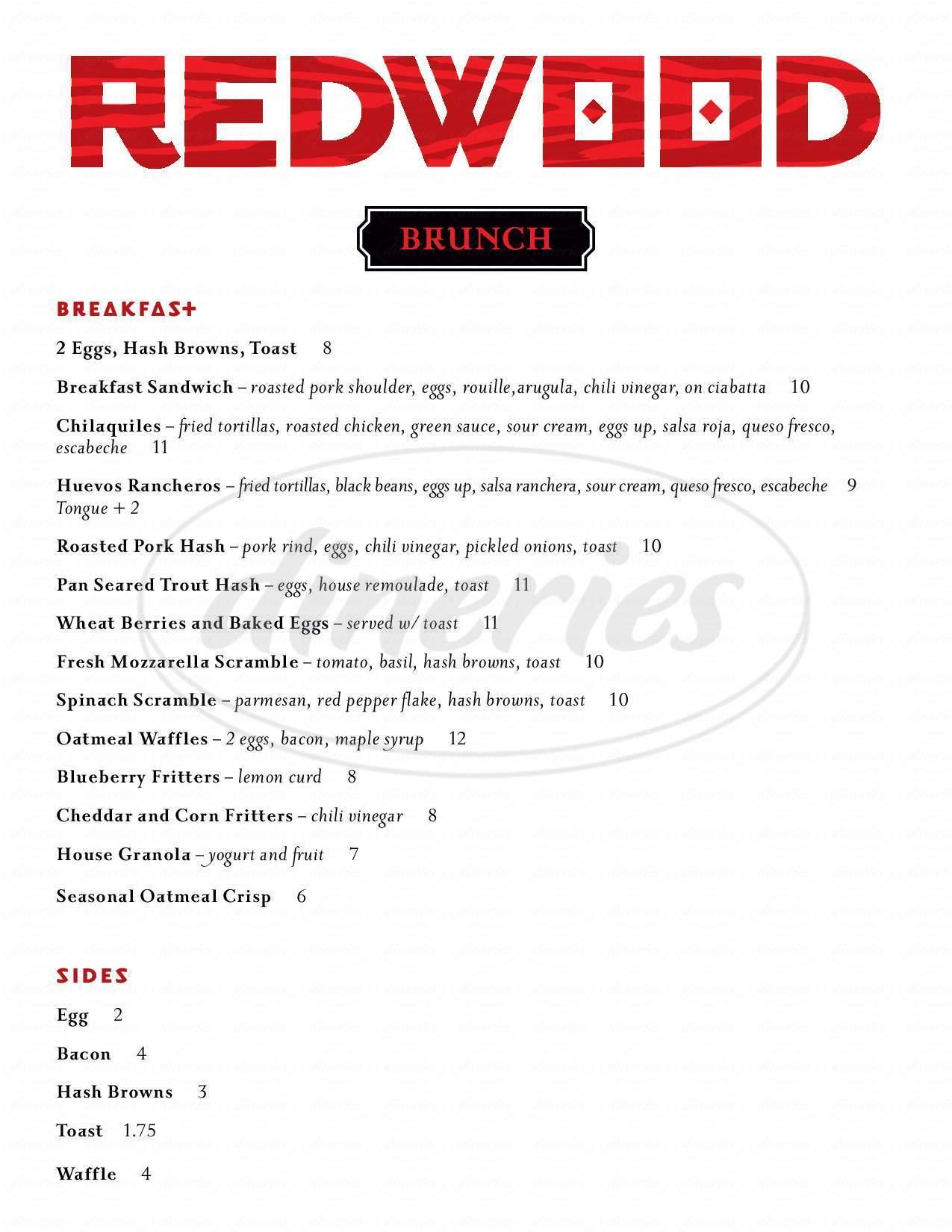 menu for Redwood