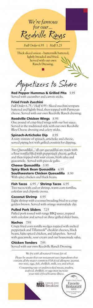 menu for Reedville Cafe